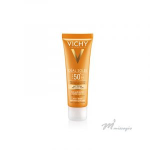 Vichy Ideal Soleil Protetor Solar com Cor FPS 50+ 3 em 1 - Unifica, Corrige, Previne 50ml