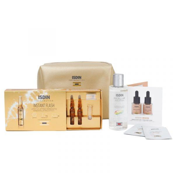 Coffret ISDINCEUTICS Instant Flash Ampolas + Água Micelar + Skin Drops produtos