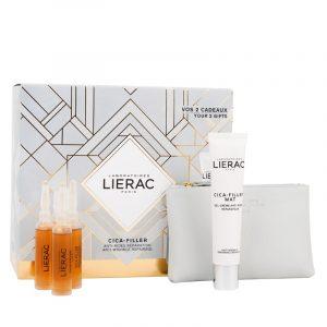 Coffret Lierac Cica-Filler Sérum Antirrugas + Gel -Creme MAT Antirrugas + Carteira Rue De Fleurs - Mónaco