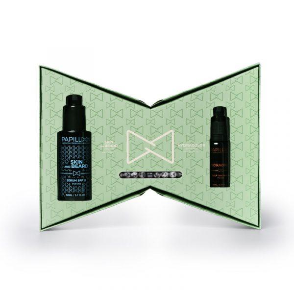Coffret Papillon London Cosmetics for Men Sérum Beard & Skin + Hydracolor + Pulseira interior caixa